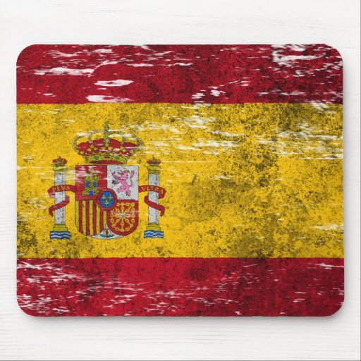 Scuffed and Worn Spanish Flag Mouse Pad
