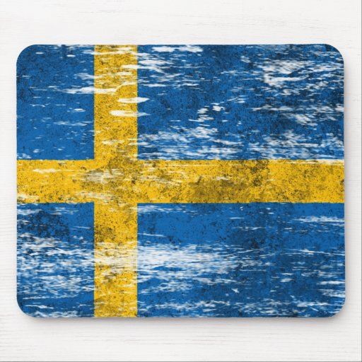 Scuffed and Worn Swedish Flag Mouse Pad