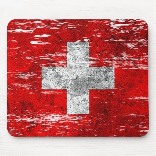 Scuffed and Worn Swiss Flag Mouse Pad