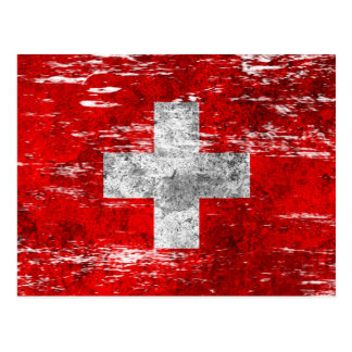 Scuffed and Worn Swiss Flag Postcards