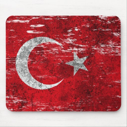 Scuffed and Worn Turkish Flag Mousepads
