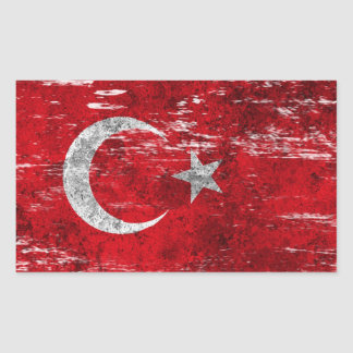Scuffed and Worn Turkish Flag Sticker