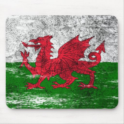 Scuffed and Worn Welsh Flag Mouse Pads