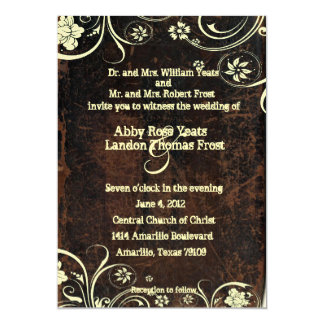Scuffed Leather Look Wedding Invitation