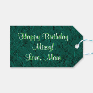 Sculpted Petunias Jade Green-Zazzle Gift Tags