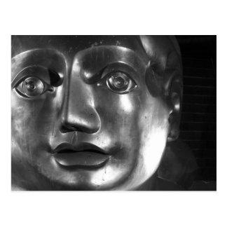 Sculpture face postcard