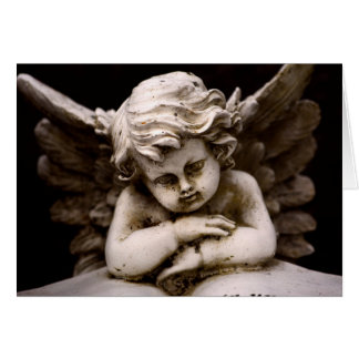 Sculpture of Cupid Angel reading a Book Card