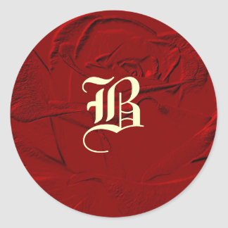 Sculptured Look Red Rose Monogram Classic Round Sticker