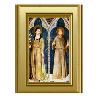 Sculptures of St Clare and St Francis Assisi Postcard