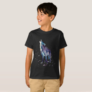 scwarzes t-shirt with handpainted wolf