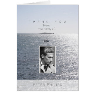 Sea and Boat Photo Frame Sympathy Thank You Card
