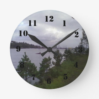 Sea and building wall clock