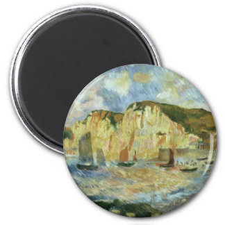 Sea and Cliffs by Pierre Renoir, Vintage Fine Art 2 Inch Round Magnet