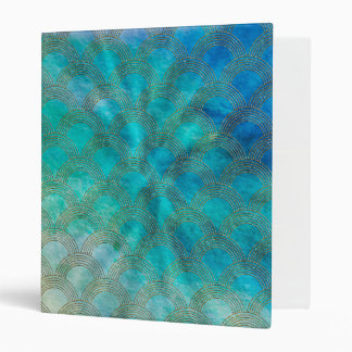 Sea and Mermaid Scales in aqua and gold 3 Ring Binder