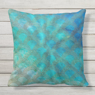Sea and Mermaid Scales in aqua and gold Outdoor Pillow
