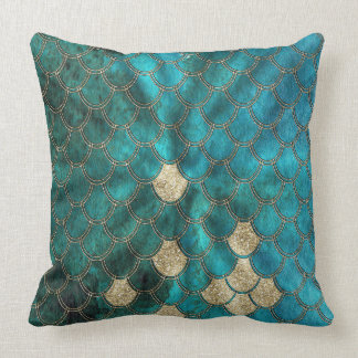 Sea and Mermaid Scales in aqua and gold Throw Pillow