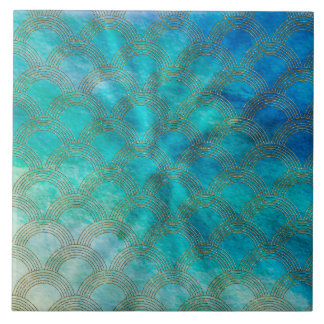 Sea and Mermaid Scales in aqua and gold Tile
