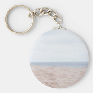 Sea and sand basic round button keychain