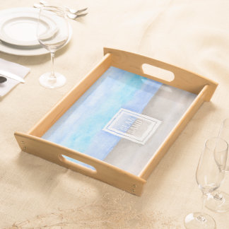 Sea and Sand Watercolor Teal Blue Tan Serving Tray