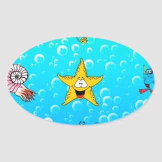 Sea Animal Cartoon Oval Sticker
