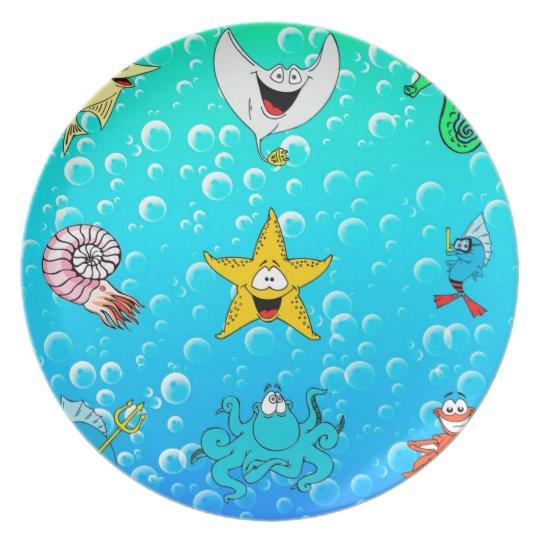 Sea Animal Cartoon Plate