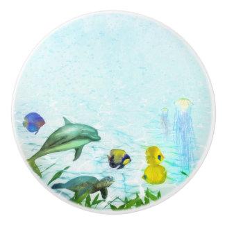 Sea Animals Beach Watercolor Custom Ceramic Knob