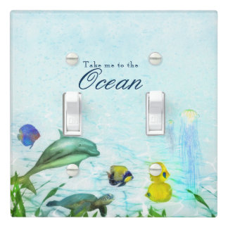 Sea Animals Beach Watercolor Personalized Room Light Switch Cover