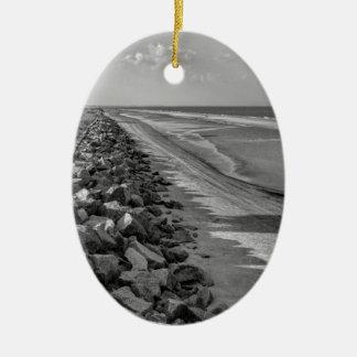 Sea Barrier Atlantic Ocean Georgia Black and White Ceramic Oval Ornament