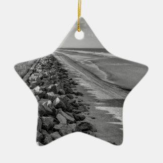 Sea Barrier Atlantic Ocean Georgia Black and White Ceramic Star Ornament