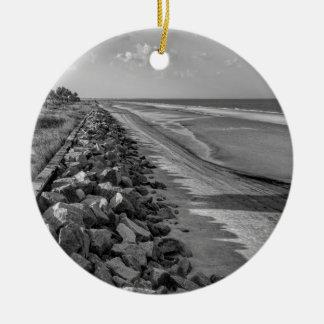 Sea Barrier Atlantic Ocean Georgia Black and White Round Ceramic Ornament