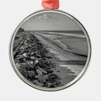 Sea Barrier Atlantic Ocean Georgia Black and White Silver-Colored Round Ornament