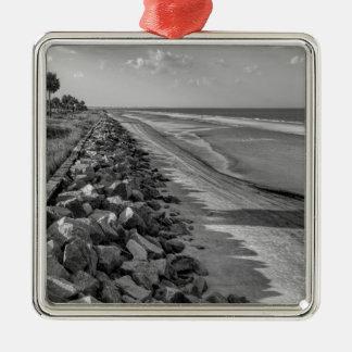Sea Barrier Atlantic Ocean Georgia Black and White Silver-Colored Square Ornament