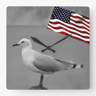 Sea Bird And American Flag Square Wall Clock