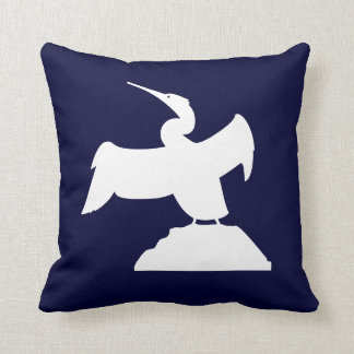 SEA BIRD. WHITE on  blue pillow