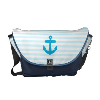 Sea Blue Anchor and baby blue Sailor Stripes Messenger Bags
