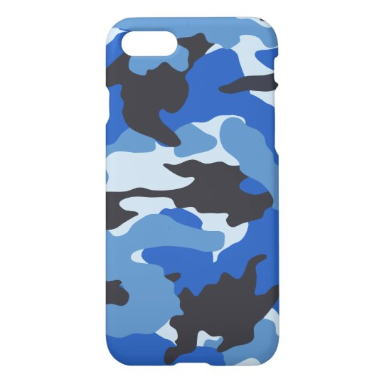 Sea Blue Camo Cool Camouflage Pattern Glossy iPhone 7 Case