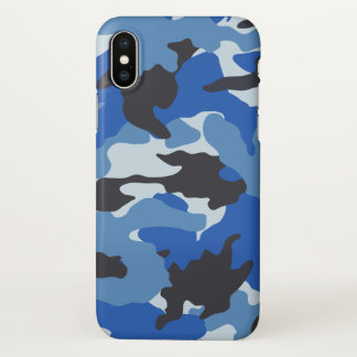 Sea Blue Camo Cool Camouflage Pattern Zazzle iPhone X Case