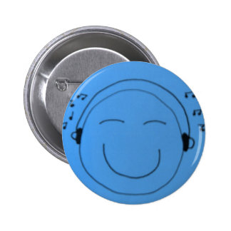 sea blue happy sounds 2 inch round button