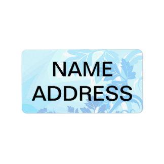 Sea Blue Modern Leaf and Vine Address Label