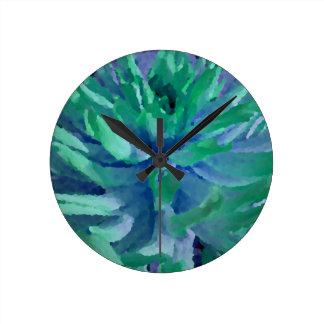 Sea blue, ocean green, dahlia, large bloom wall clocks