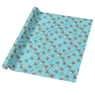Sea Blue Starfish Pattern Christmas Paper