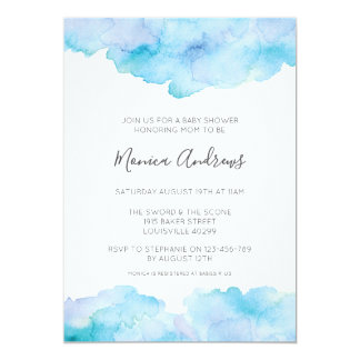 Sea Blue watercolour Baby Shower invitation