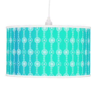 Sea Blue white sparkle striped lace Lamp