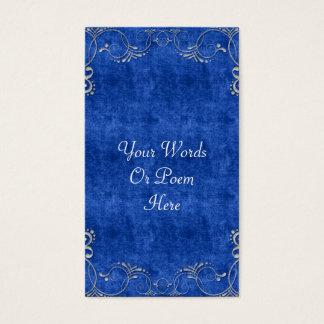 Sea Blue & White Velvet Deco Diamond Wedding Business Card
