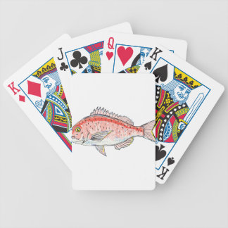 Sea Bream Red Sketch Bicycle Playing Cards