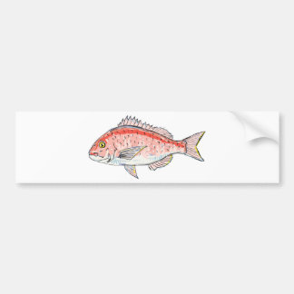 Sea Bream Red Sketch Bumper Sticker