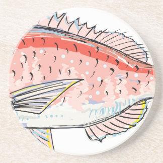Sea Bream Red Sketch Coaster