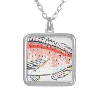 Sea Bream Red Sketch Silver Plated Necklace