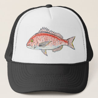 Sea Bream Red Sketch Trucker Hat