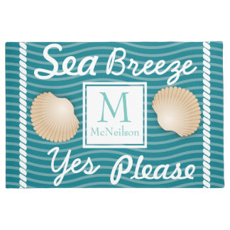Sea Breeze Yes Please Seashells Personalized Doormat
